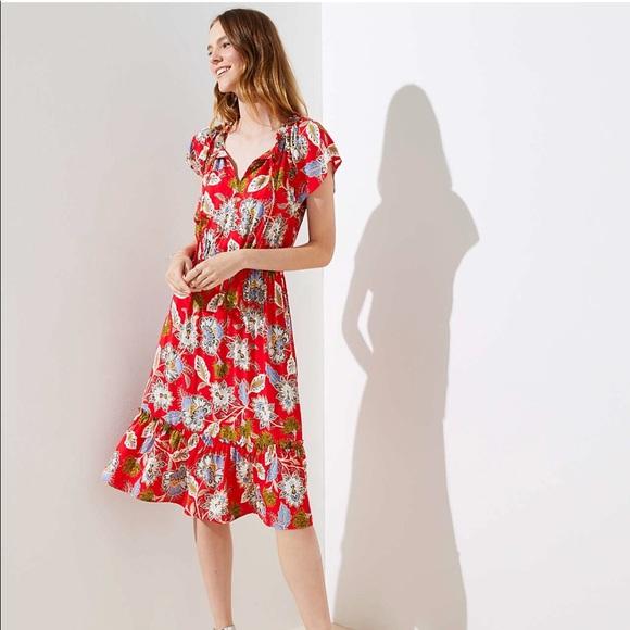 56f23129b7 LOFT Dresses & Skirts - Loft Summer Blossom tie-neck flounce dress